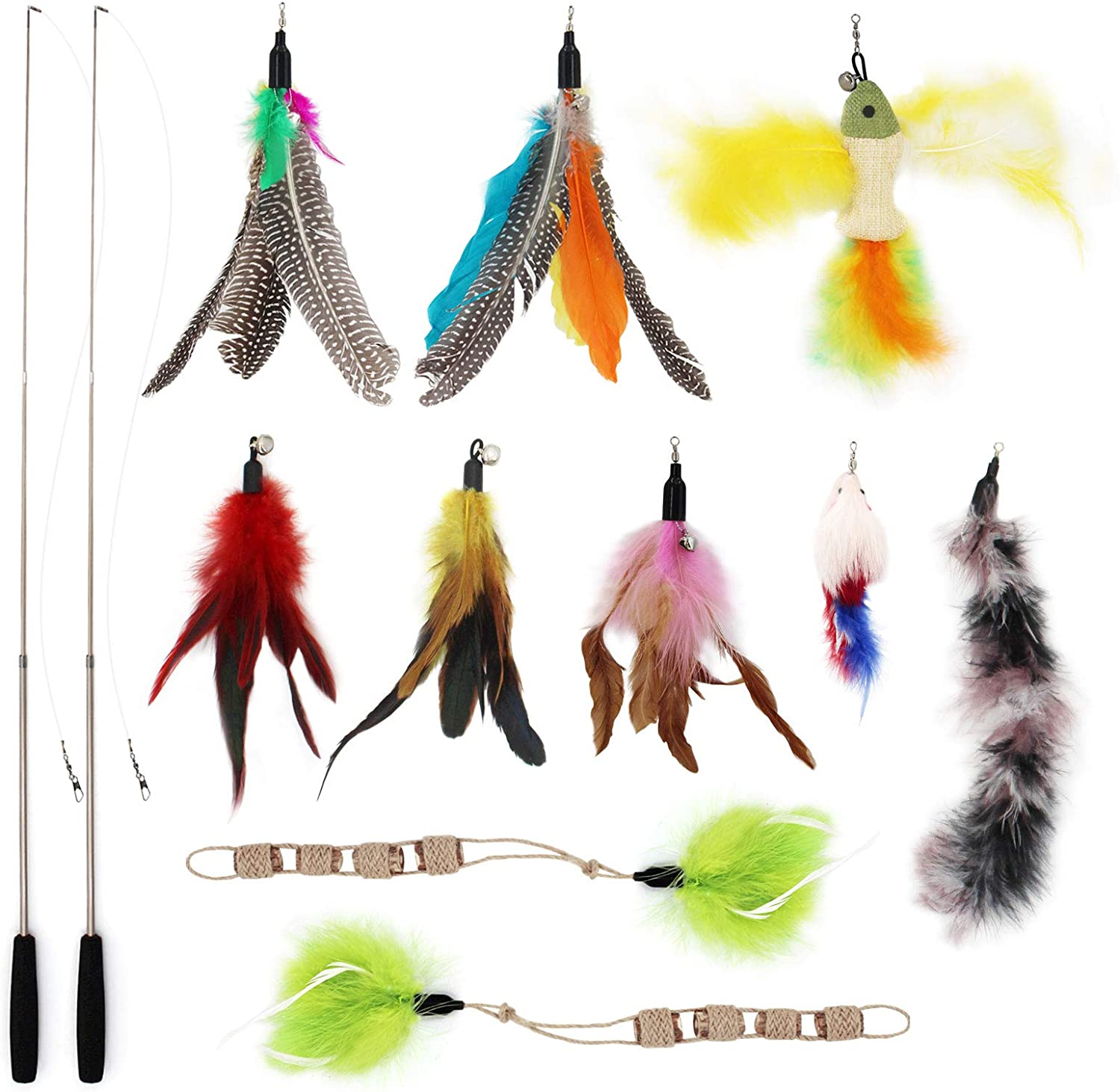 SONGWAY 12Pcs Cat Feather Toys wholesale Set Retractable Max 43% OFF - Toy 2 Wand
