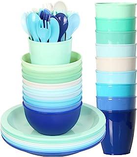 مجموعة أواني الطعام البلاستيكية للأطفال من يونجفر 54 قطعة من 9 في 9 ألوان ساحلية، مجموعة طعام للأطفال، أكواب، أطباق للأطفا...