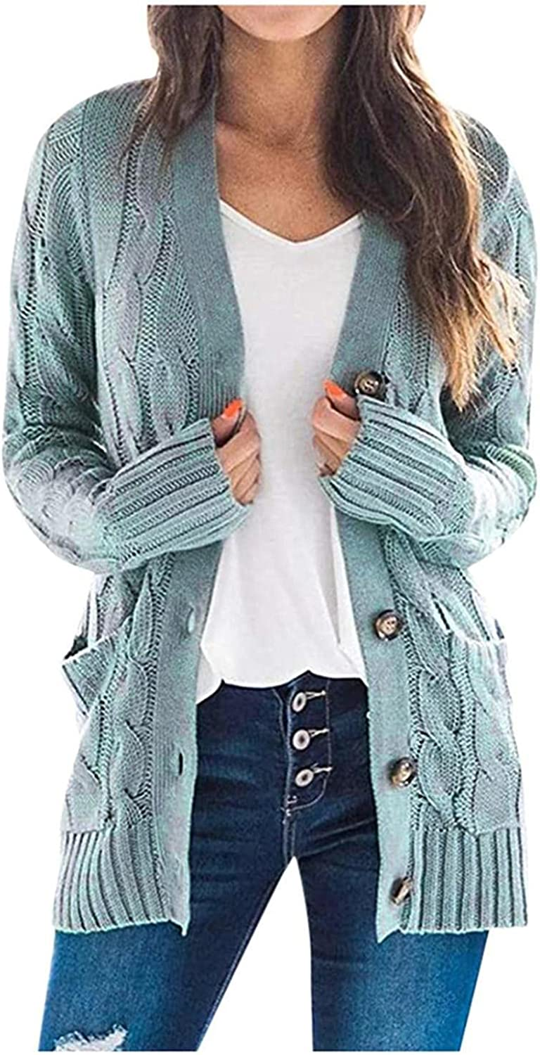 DANDan Women's Knit Cardigan Long Sleeve Solid Open Front Sweaters Knitted Coat with Pockets Buttons Winter Tops