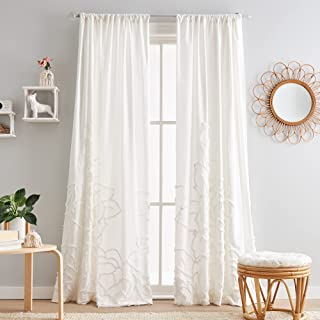 "Peri Home Semi-Sheer Chenille Rose Rod Pocket Window Curtain Single Panel, 84"", White"