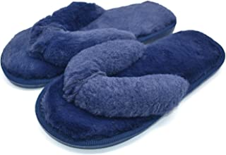 Cozy Plush Flip Flops Slippers for Women Non Slip Indoor House Spa Thong Slipper Fluffy Slide Shoes