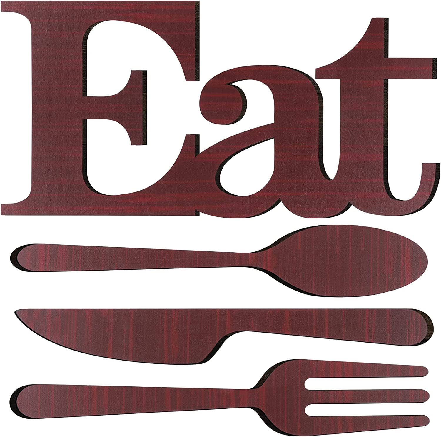 Ruisita Wooden Eat Sign and Cutlery Wall Decor Decorative Hanging Wooden Letters Wall Art Farmhouse Rustic Kitchen Wall Decor Eat Sign for Home, Kitchen Decoration (Dark Red)