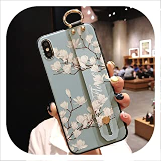Wrist Strap Soft TPU Phone Case for iPhone 7 8 6 6s Plus Case for iPhone X Xs max XR Vintage Flower Pattern Holder Case,IK21-01WDYuLHQing,for iPhone 7