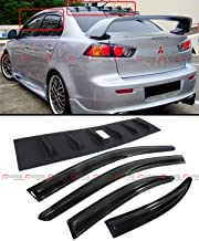 Cuztom Tuning Fits for 2008-2016 Mitsubishi Lancer Shark Fin Vortex Generator Spoiler + JDM Window Visor Rain Guard