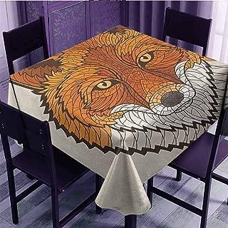 DGGO Foxwild Fox Portrait in Mosaic Inspired Style Furry Animal Smart Eyes Mascot Iconstain Resistant Fabric Orange White Black (54