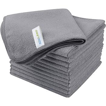 Sinland Microfiber Rag Absorbent Cleaning Cloth Kitchen Dish Cloth Streak Free Dish Rags Glass Cloths 12inchx12inch 12 Pack Grey