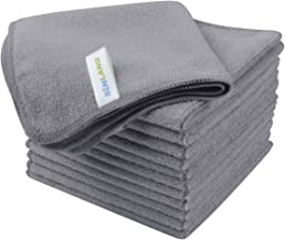 Sinland Microfiber Cleaning Cloth Absorbent Dish Cloth Glass Cleaning Cloths Dish Rags 30cmx30cm 12 Pack Grey