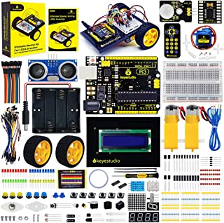 KEYESTUDIO Ultimate Starter Kit for Arduino, 25 in 1 Project Robot Car kit with Light Follow, Remote-Control, Ultrasonic Ranging, Obstacle Follow Function