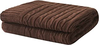 Adory Sweety 100% Cotton Decorative Knit Cable Throw Blanket Super Soft Warm for Couch Chairs Beach Sofa,50 x 60 inch,As Gift with Free Washing Bag (Dark Brown)