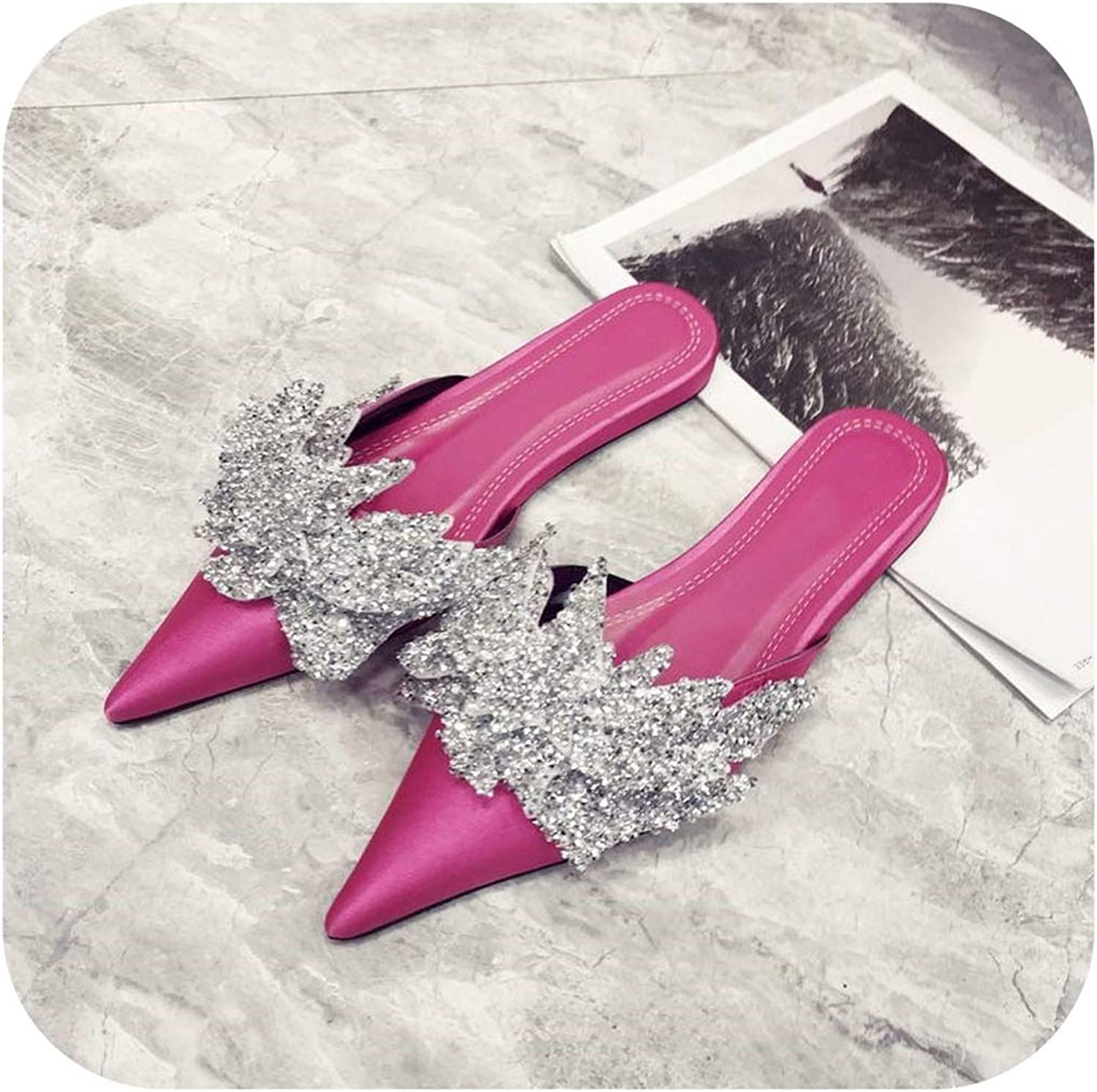 Satin Pointed Toe Sandals Flowers Rhinestone flip Flop Muller Slippers Flat shoes