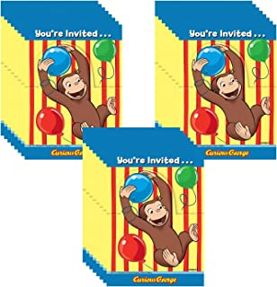 Curious George Party Invitations - 24 Guests