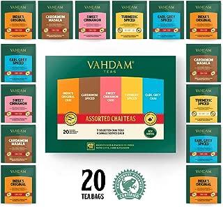 VAHDAM, Chai Tea Sampler, 5 TEAS - Tea Variety Pack   Assorted Chai Tea Bags   Cardamom Tea Bags, Cinnamon Tea Bags, Turmeric Masala Chai Tea Bags   20 Ct   Tea Gift Set