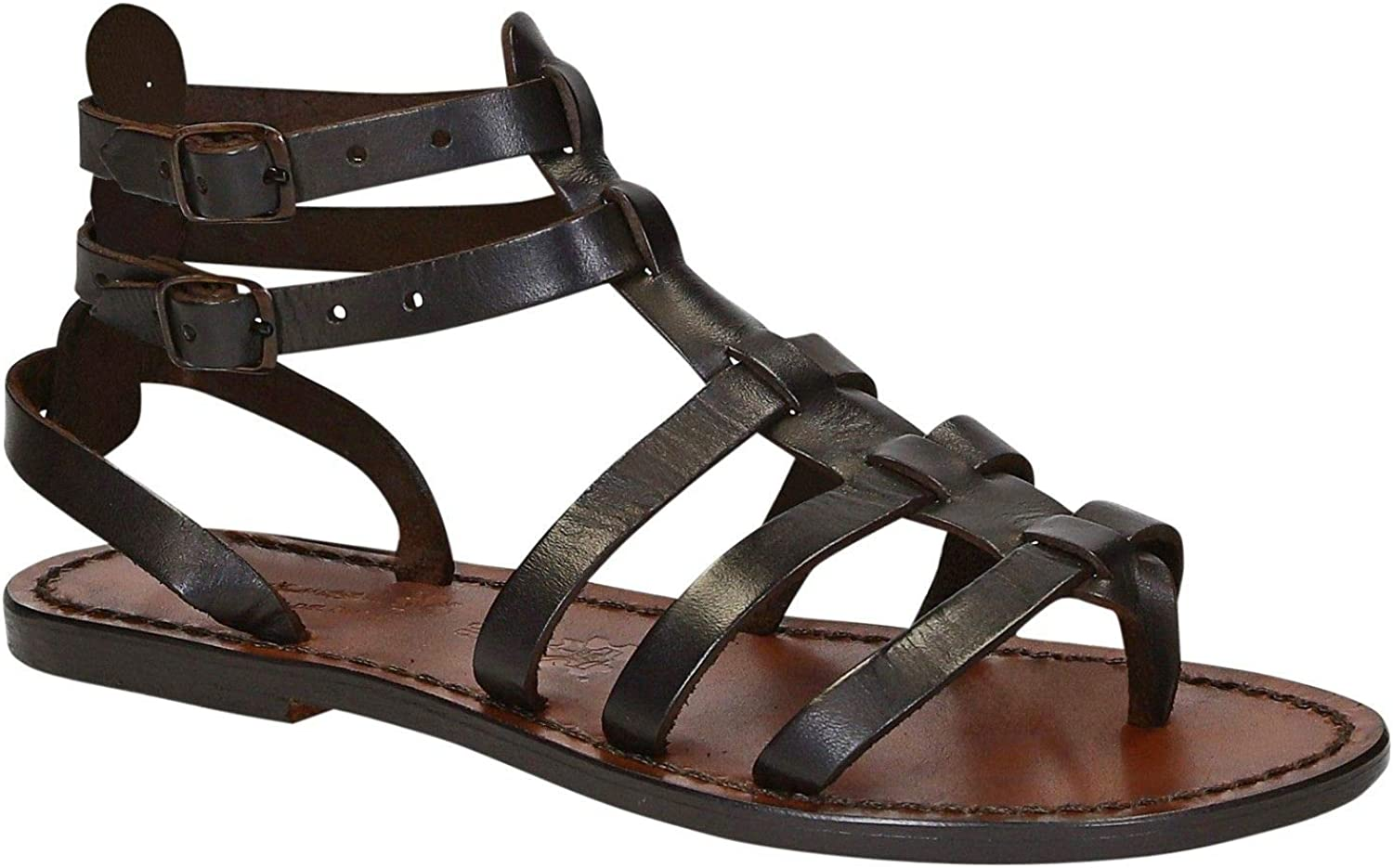 GIANLUCA - L'ARTIGIANO DEL CUOIO Women's 862BROWN Brown Leather Sandals