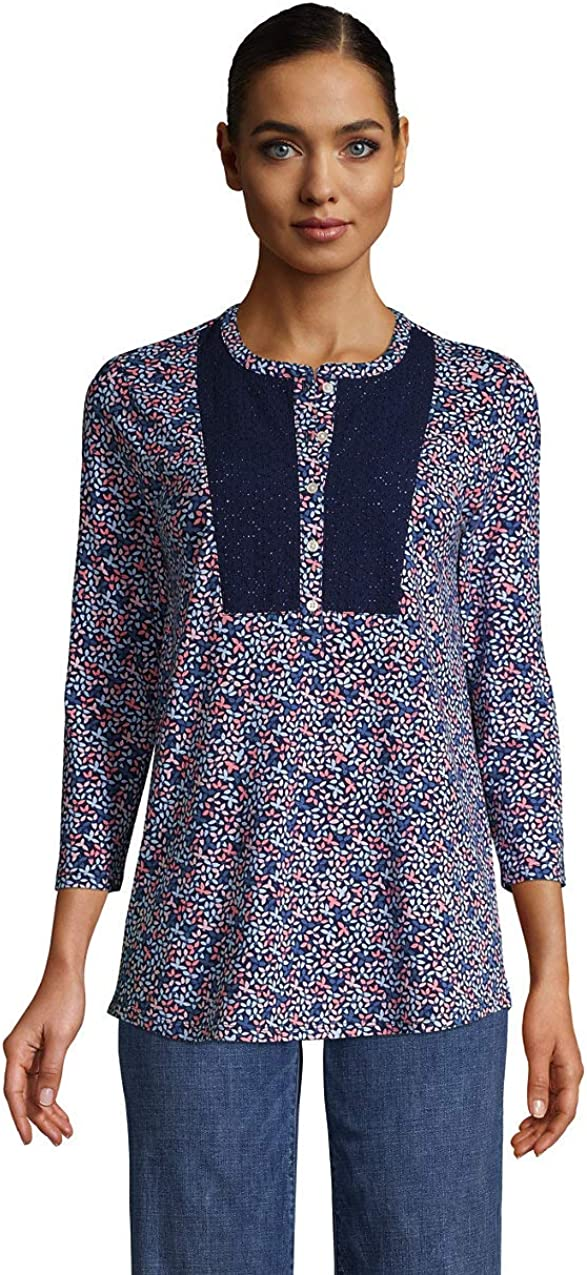 Lands' End Women's 3/4 Sleeve Curved Hem Tunic Top