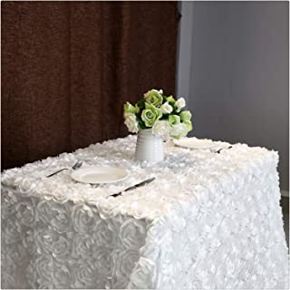 Fanqisi Satin Raised Rosettes 50 x102 Inches White Rectangle Tablecloth Wedding Dining Room Table Linens
