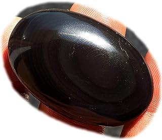 RASIO Cabujón de obsidiana arco iris negro, piedra preciosa semipreciosa natural, forma de pera de 53 quilates 48 x 23 x 7...