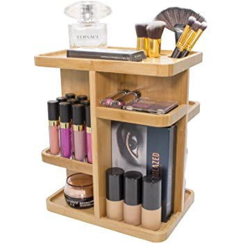 Sorbus 360° Bamboo Cosmetic Organizer, Multi-Function Storage Carousel for Makeup, Toiletries, and More — Great for Vanity, Desk, Bathroom, Bedroom, Closet, Kitchen