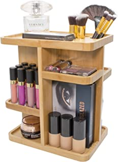 Sorbus 360° Bamboo Cosmetic Organizer, Multi-Function Storage Carousel for Makeup, Toiletries, and More — for Vanity, Des...