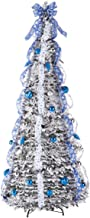 HOLIDAY PEAK 7' Snow Frosted Winter Style Pull Up Tree, Multicolor