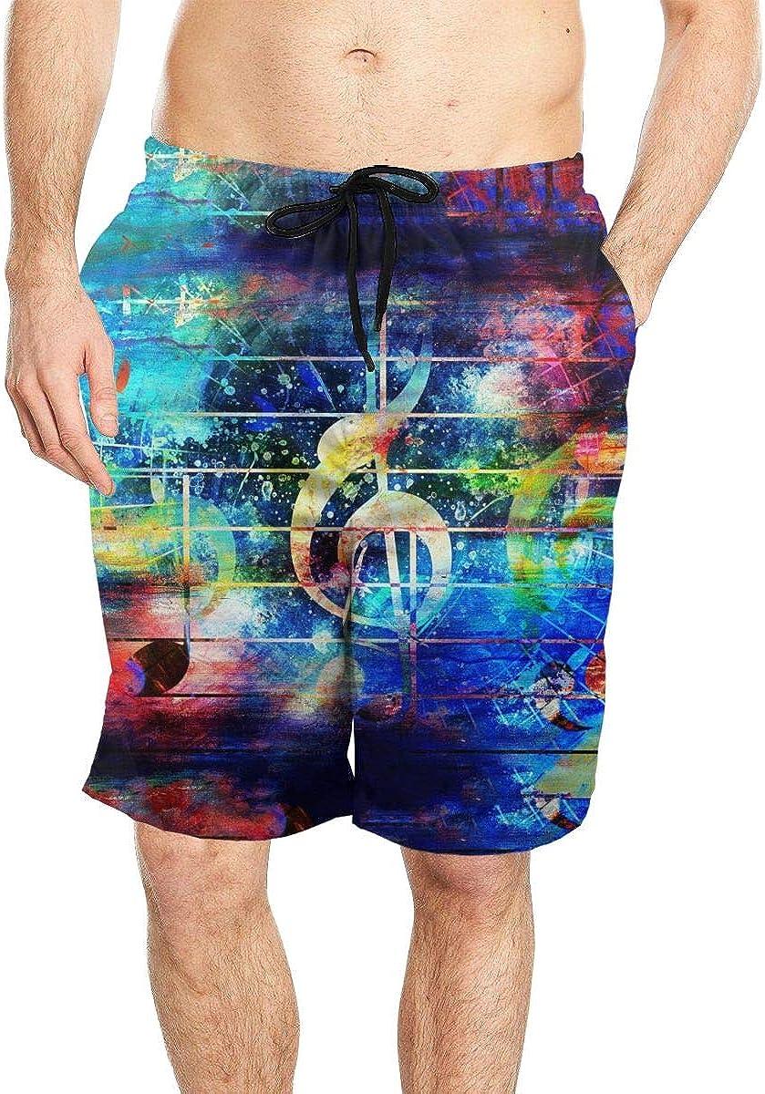 DASMUS Colorful Music Notes Men Drawstring Beach Board Shorts Swim Trunks with Mesh Lining