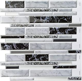 Decopus 3D Gel Tile Peel and Stick Backsplash (Carrara Black White Grey Long Marble 5pc/Pack) for Kitchen, Bathroom, Wall Accents. 12''x 12'', Self Adhesive Marble Tile Vinyl 3D Gel Like Stick On