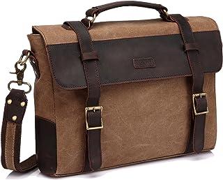 VASCHY Aktentasche Herren, VASCHY Klassische Echtes Leder Segeltuch Umhängetasche passt 14 Zoll Laptop Schultertasche Kuriertasche mit Abnehmbarem Gurt Kamel