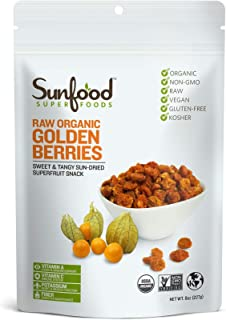 Sunfood Superfoods Golden Berries- Raw Organic. 8 oz Bag