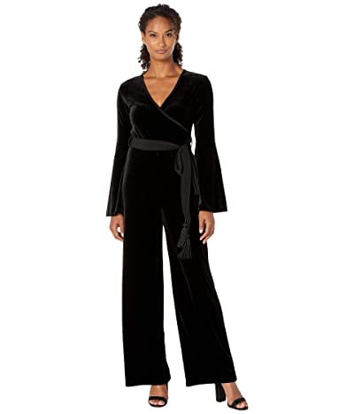 Calvin Klein Long Sleeve Velvet Jumpsuit with Surplus Neck (Black) Women
