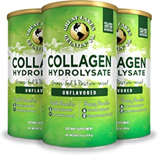 Great Lakes Gelatin, Collagen Hydrolysate, Unflavored Beef, Kosher, 16oz 3-Pack