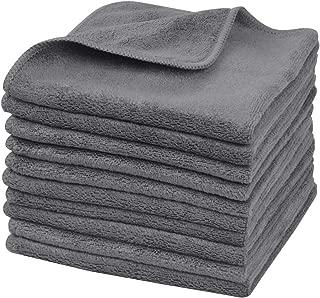 Sinland Microfiber Facial Cloths Fast Drying Washcloth 12inch x 12inch Grey 10 pack