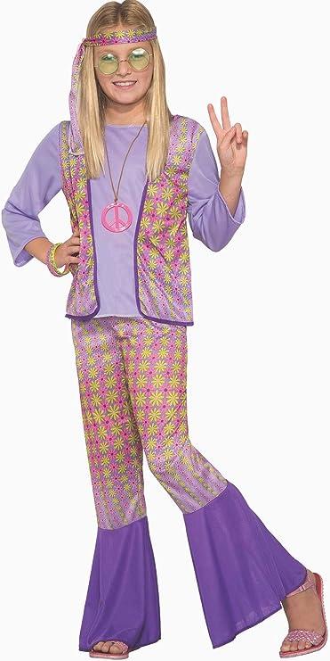 60s 70s Kids Costumes & Clothing Girls & Boys Generation Hippie Love Child Girls Halloween Costume 1970s Flower Power SM-MD-LG  AT vintagedancer.com