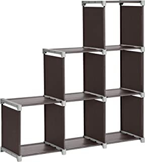 SONGMICS 6-Cube Storage Rack, Staircase Organizer, DIY Storage Shelf, Bookcase in Living Room, Children¡¯s Room, Bedroom, for Toys and Daily Necessities, Brown ULSN63Z
