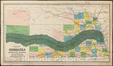 Historic Pictoric Map, 1883 Map of Nebraska showing the Union Pacific Railroad land grant, Vintage Wall Art : 42in x 24in