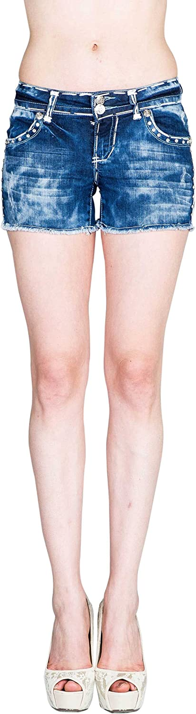 VIRGIN ONLY Women's Thick Stitch Denim Shorts