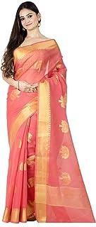 ساري بناراسي هندي من مزيج القطن للنساء من Chandrakala مع بلوزة غير مخيطة (1102)