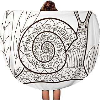 Semtomn 60 Inches Round Beach Towel Blanket Adult Coloring Page Cute Snail Whimsical Line for Colouring Travel Circle Circular Towels Mat Tapestry Beach Throw
