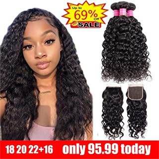 Ayniss Water Wave 3 Bundles with Closure(18 20 22+16) Human Hair Extension Wet and Wavy Brazilian Virgin Free Part Natural Color For Woman 4x4 Lace Closure(18 20 22+16,4x4 closure)