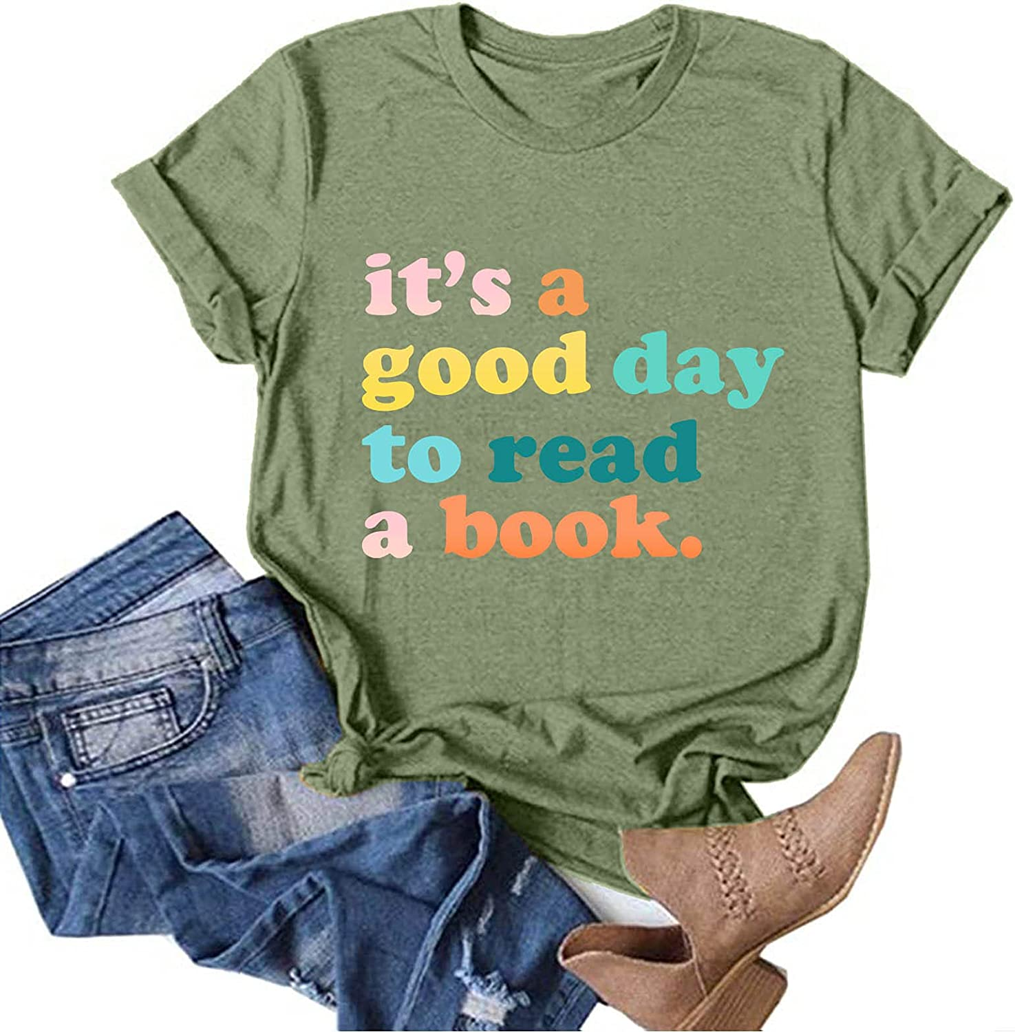 Graphic Tshirts for Women Fun Happy Graphic Tees Summer Cute Letter Printed T-Shirts Loose Fit Tee Shirts Blouses