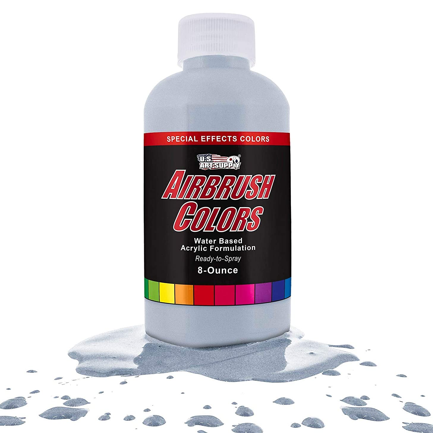 US Art Supply Silver Pearl Pearlized Special Effects Acrylic Airbrush Paint 8 oz.