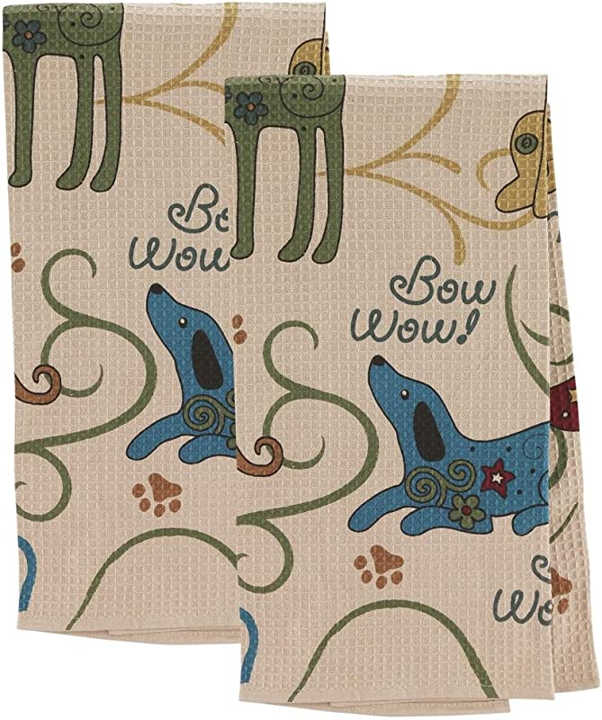 GreaterGood Festival Dogs Kitchen Towels Set Of 2