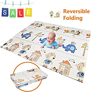 "Folding Play Mat | BPA Free Non-Toxic Foam Baby Playmat (6.6FT x 5FT) 0.4"" Thick Extra Large Reversible Crawling Mat Portable Toddlers Kids Waterproof Non-Slip Activity Tummy Time (Bear House)"