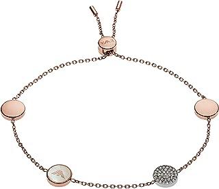Emporio Armani Women Cubic Zirconia Signature Bracelet Stainless Steel Rose Gold