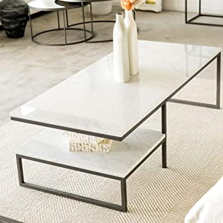 From Wood and steel brand: Arabian marble coffee table for living room home office furniture contemporary style Table.