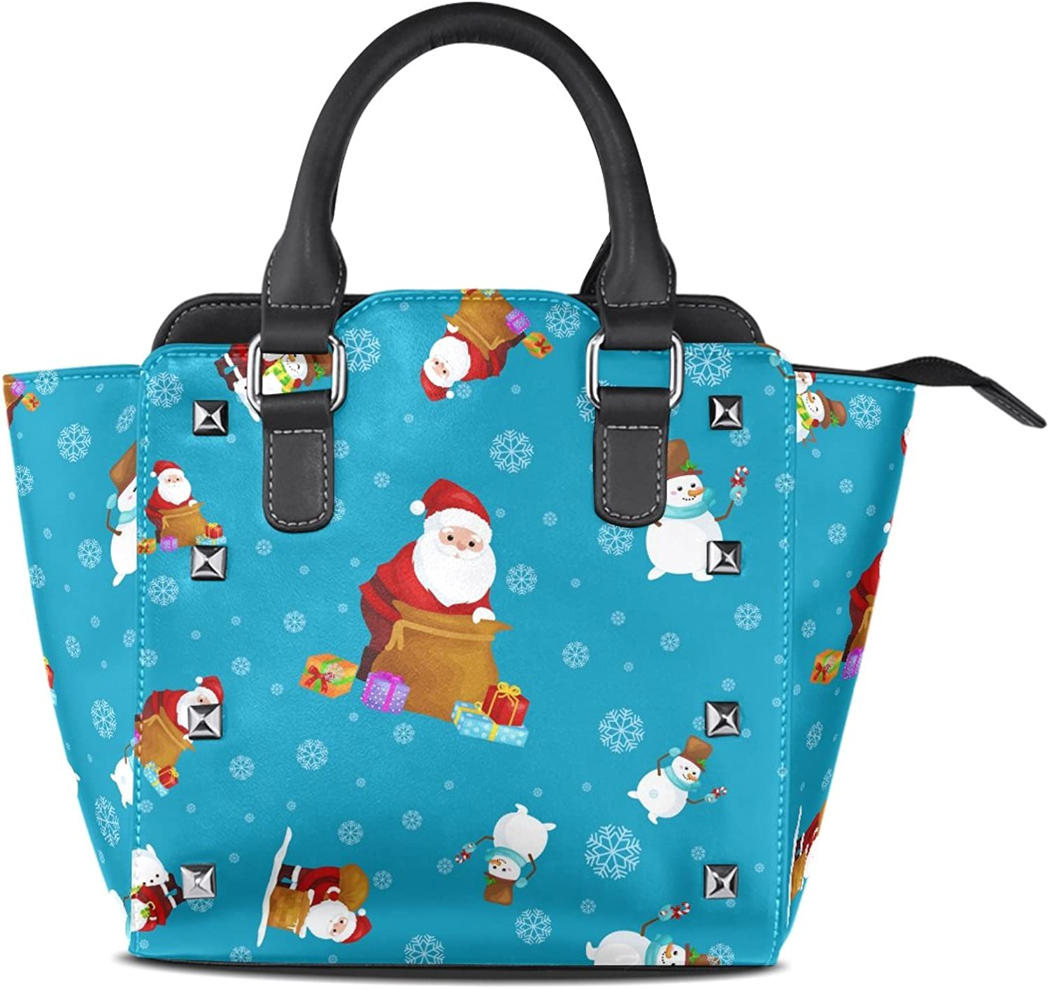 Sunlome Merry Christmas and Happy New Year Santa Claus Print Handbags Women's PU Leather Top-Handle Shoulder Bags