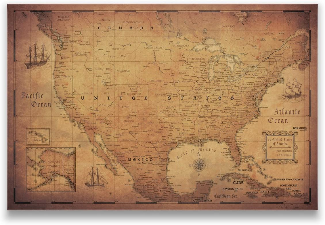 Conquest Maps Map Cork Board - Golde Travel of States United ファッション通販 低廉