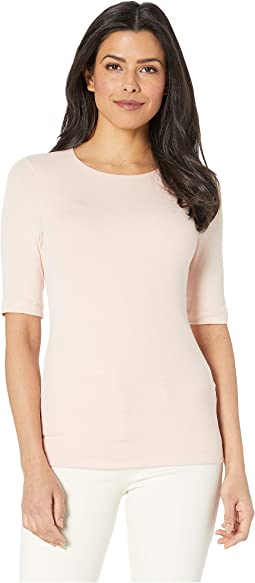 Luxe Rib Elbow Sleeve Crew Neck Top