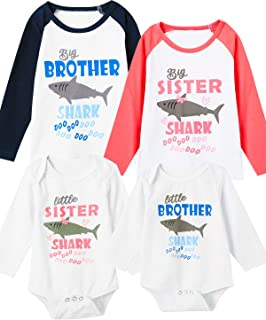 Matching Brother Sister Kid Long Sleeve T-Shirts Shark Doo Doo Bodysuit Outfits