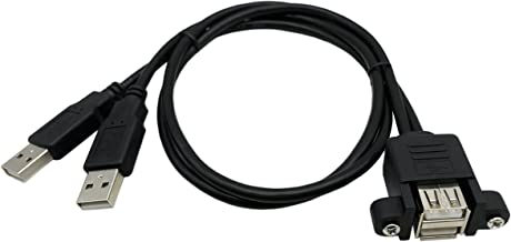 CERRXIAN LEMENG Dual USB 2.0 Male to Female Extension Cable 50cm with Screw Panel Mount Holes