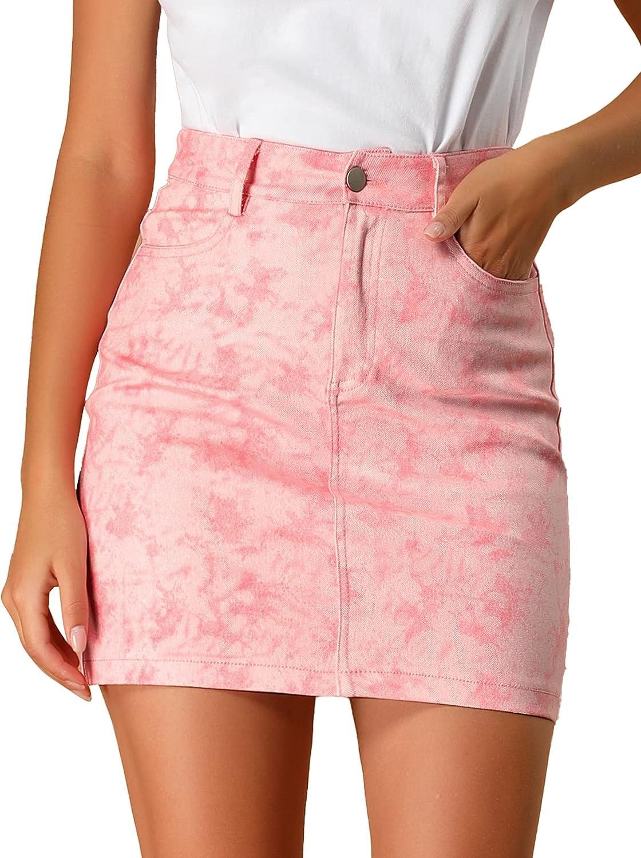 Allegra K Women's Tie Dye Denim High Waist Slim Fit Mini Bodycon Skirt