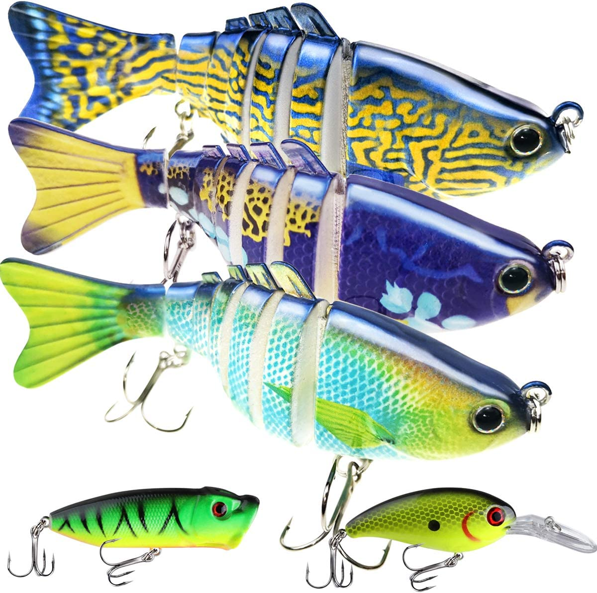 Fishing Lures for Bass 3.9 inch Don't miss the campaign Las Vegas Mall Segment Swimbait Jointed 7 Multi
